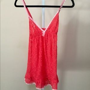Victoria's Secret Red Lace W/Pink Trim Babydoll L